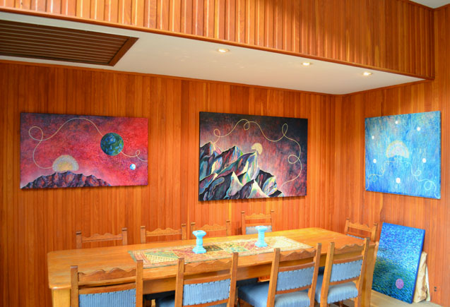 My paintings in the dining room