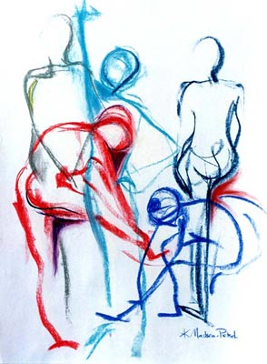 Multiple gestural female forms