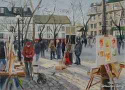 Setting up Easels at Place de Tetre