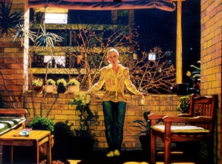 """Kelly on the Balcony, Elizabeth Gardens"""