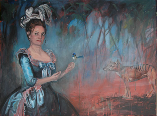 Self Portrait as Marie Antoinette, with Superb Blue Wren and Thylacine