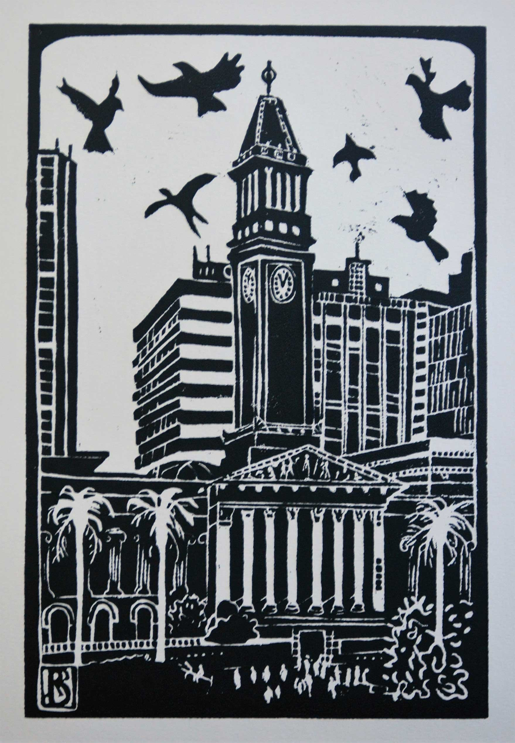 Birds dancing over City Hall
