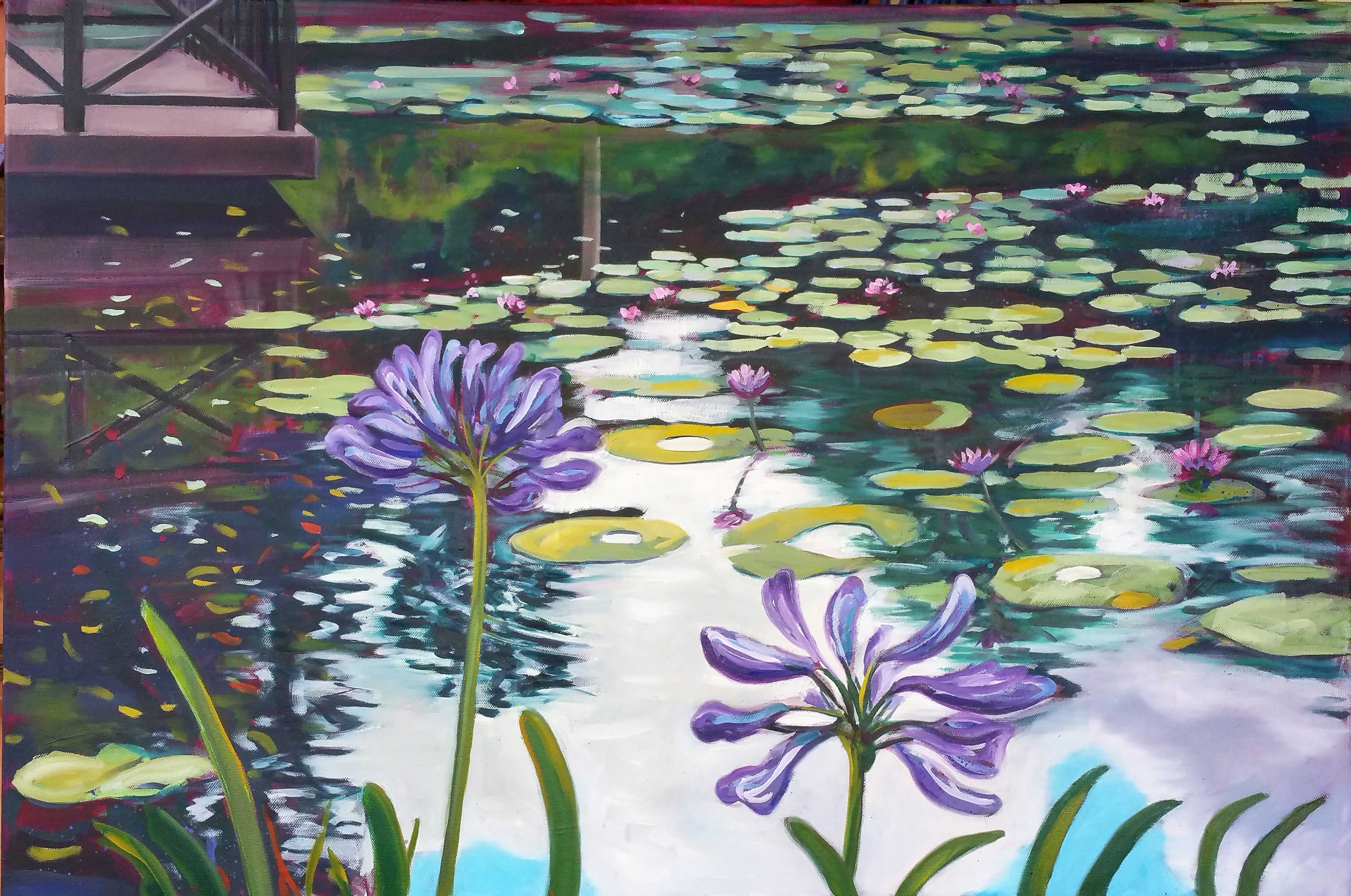 Agapanthus and waterlilies, Mt Coot-tha Botanic Gardens