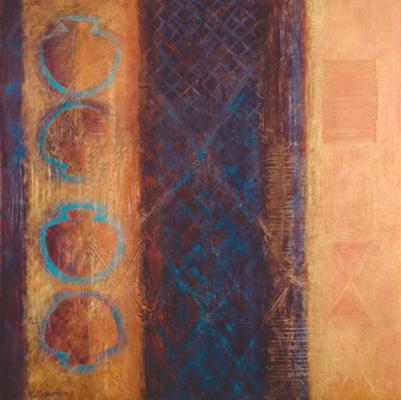 Acrylic, linen thread on canvas
