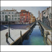 Title View along the Canal(Rio San Barnaba) Year 2009<br />Medium oil Support canvas Height 48cms Width 64cms