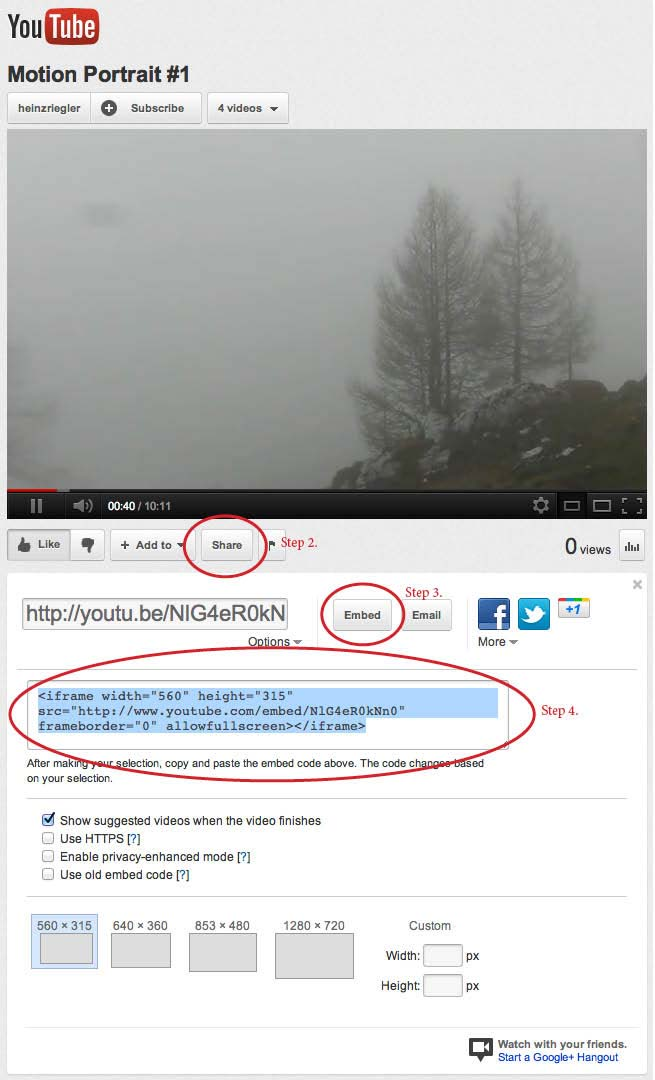 YouTube Embed Code Steps