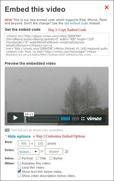 Vimeo Embed code example