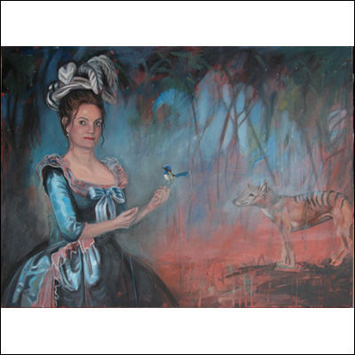 "Artist  Robyn Bauer Title  Self Portrait as Marie Antoinette, with Superb Blue Wren and Thylacine Year  2012 Medium  Oil on canvas Height  91cm Width  122cm      From the Exhibition  ""Terra Australis"""