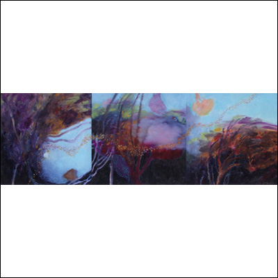 Artist  Des Rolph Title  Drifting Through a Razzle Dazzle Landscape (triptych) Year  2012 Medium  oil on canvas Support  canvas stretcher Height  30 cm Width  90 cm Price  2 cm