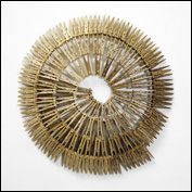 Artist 	Lyndal Hargrave Title 	Domestic Spiral Medium 	Timber, metal, stain, screws Height 	57cm Width 	56cm Depth 	8cm