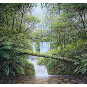 "Artist 	Paul Renwick Farley Title 	""Rainforest Splendor"" Medium 	Acrylic Support 	300gsm paper mounted on panel. Height 	4 inches. Width 	4 inches."