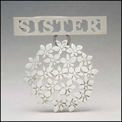 Artist 	elizabeth shaw Title 	sister Year 	2011 Medium 	recycled sterling silver, stainless steel pin